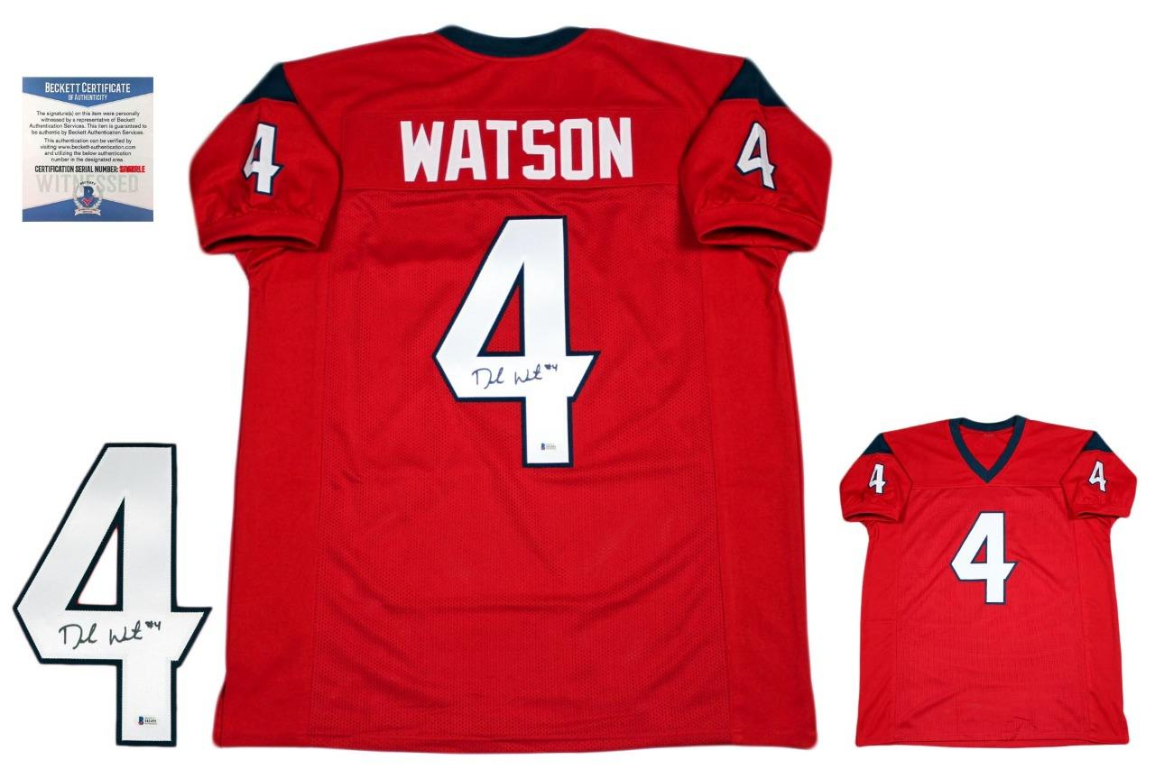 promo code 88f94 6dade Deshaun Watson Autographed Signed Jersey - Beckett Authentic - Red