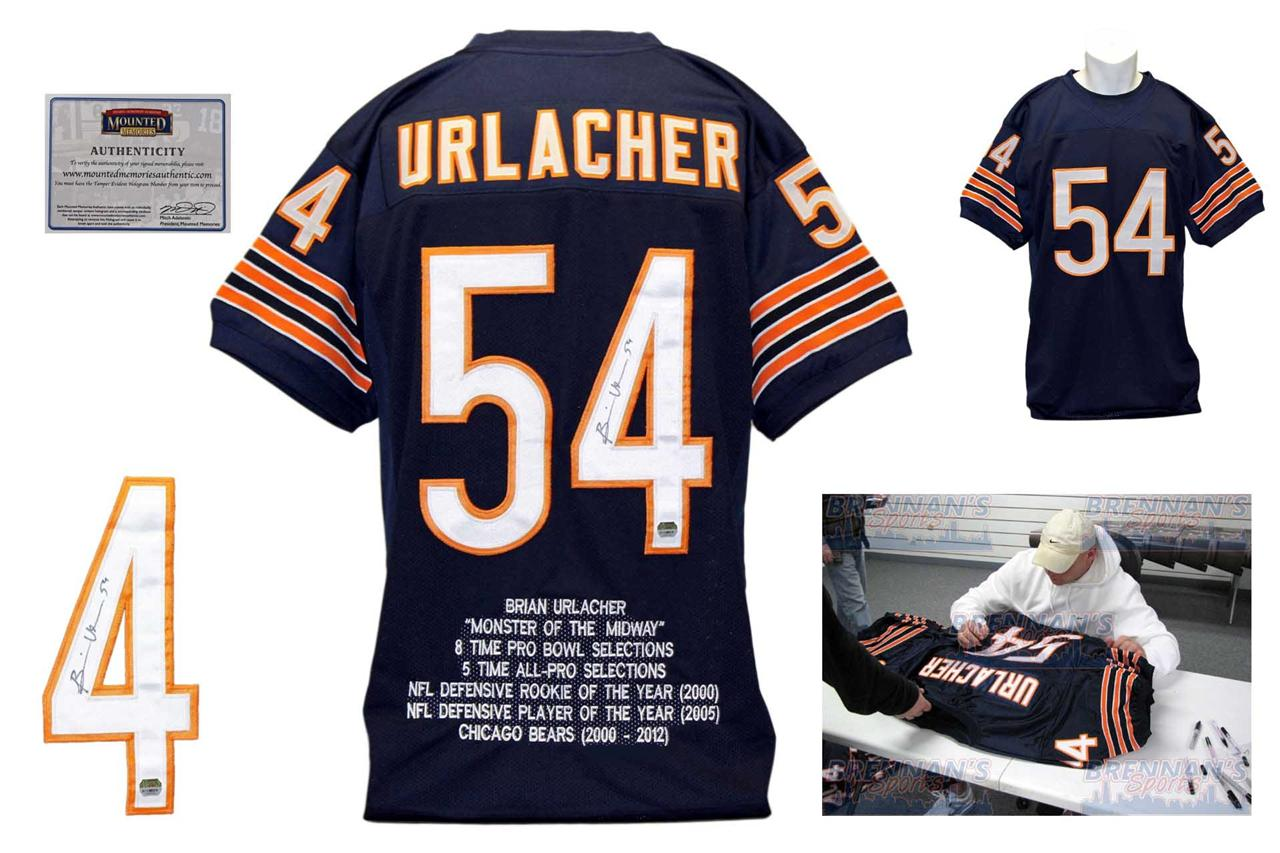 ... Brian Urlacher Autographed Signed Chicago Bears Navy Stat Jersey  Mounted Memories ab18acf58