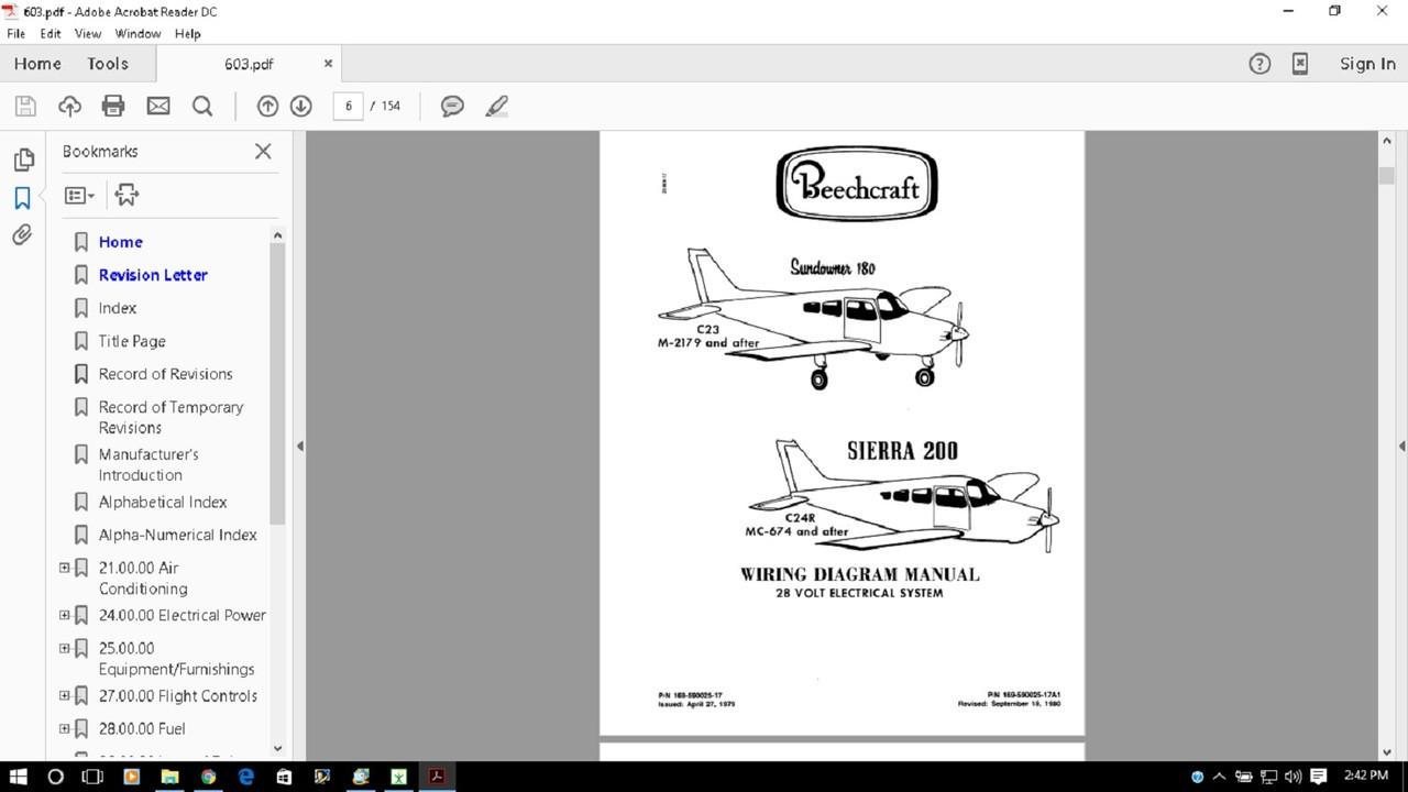 Beechcraft Sundowner Sierra Wiring Diagram Electrical Service Manual