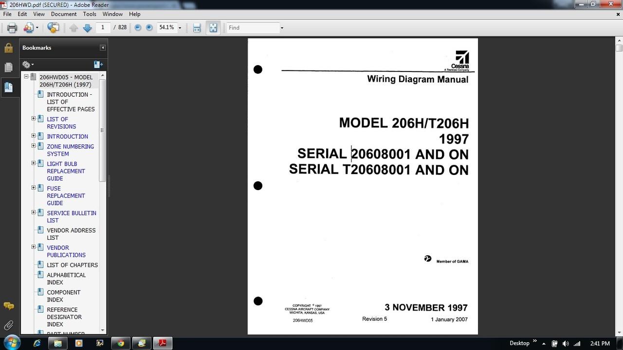 Cessna 206 Wiring diagram electrical manual 206H T206H 206HWDRepairmanuals4u.com
