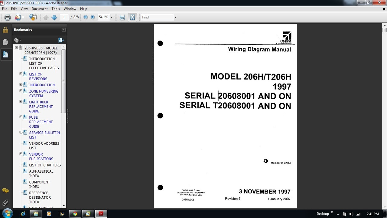 Cessna 206 Wiring Diagram Electrical Manual 206h T206h 206hwd Numbering System