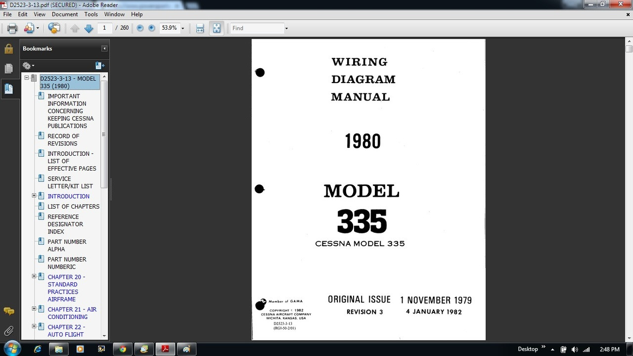 Cessna 335 Wiring Diagram Electrical Manual D2523