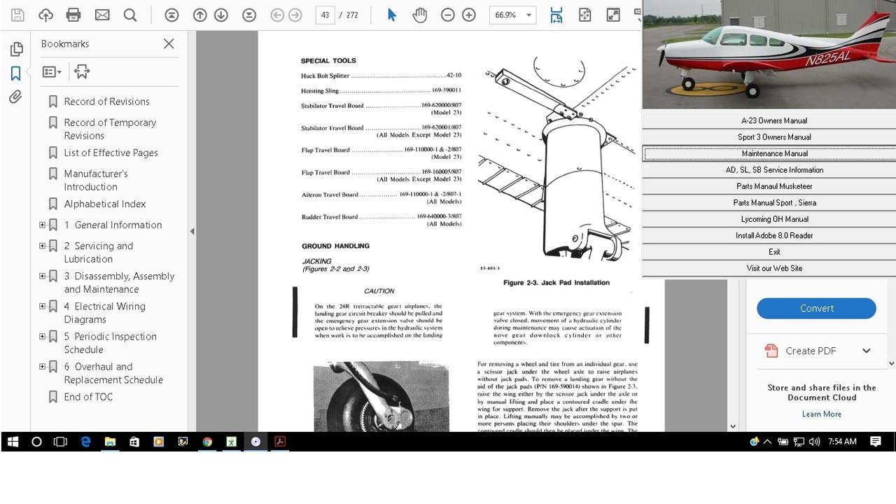 Beechcraft Sierra Service maintenance repair parts library manual set
