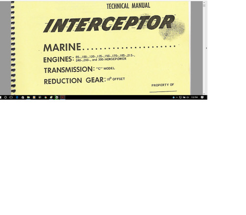 Interceptor Ford marine engine N transmission technical manuals