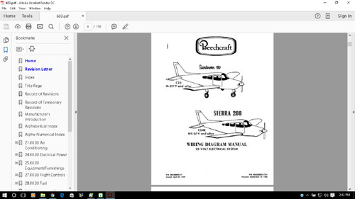 Beechcraft Sundowner Sierra wiring diagram electrical service manual on CD