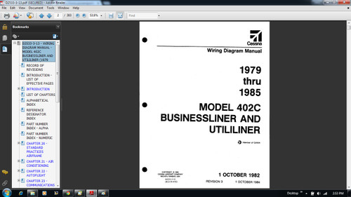 Cessna 402 C Wiring diagram electrical manual D2533-3-13 402C  on CD