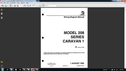Cessna 208 Caravan Wiring diagram electrical manual D2079-6-13  on CD