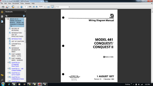Cessna 441 Conquest Wiring diagram electrical manual D2519-10-13 on CD