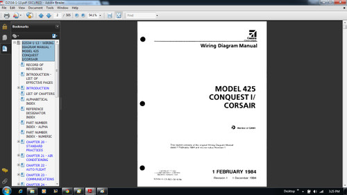 Cessna 425 Conquest 1 Corsair Wiring diagram electrical manual D2534-1-13 on CD