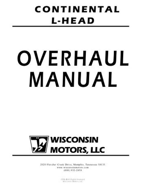 Continental L head engine overhaul manual 4 and 6 cylinder tractor motor