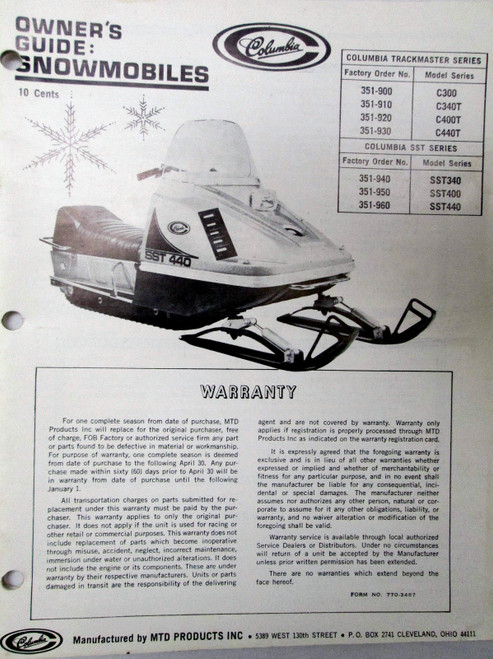 Columbia snowmobile owners manuals C and SST series download