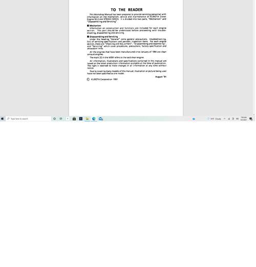 KUBOTA Workshop Service Manual 03 Series Diesel Engine download