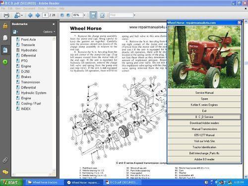 Vintage Wheel Horse tractor service repair shop manual
