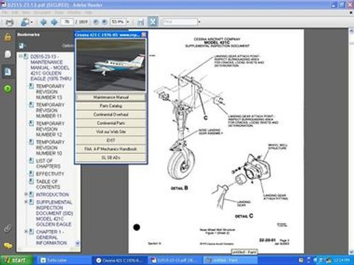 Cessna 421C service  manual set + engine manuals D2515-23-13