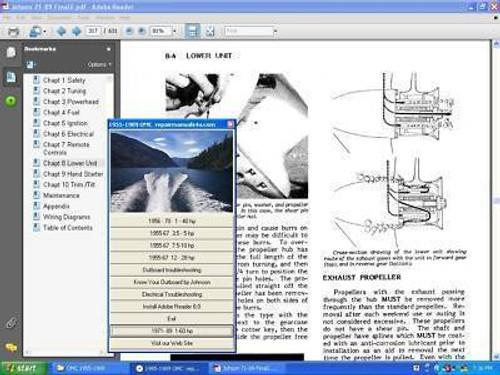 Johnson Evinrude outboard motor service manual 65-300 1992-2001 on CD