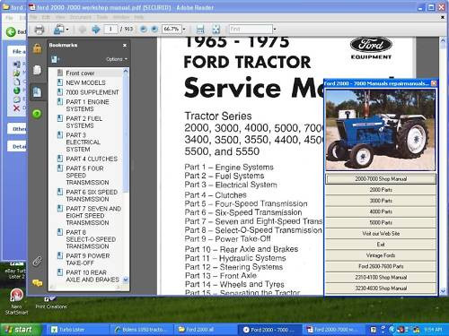 Ford tractor parts manuals 2600 - 7600 +