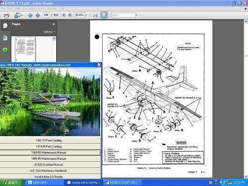 Cessna 180 service repair maintenance manual set + engine + A/Ds