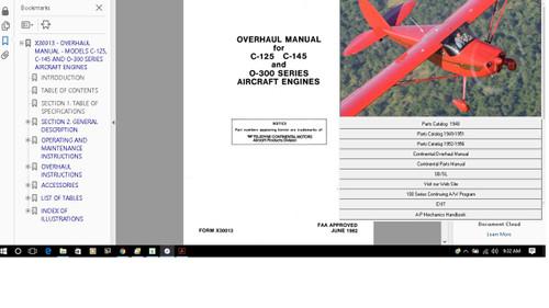 Cessna 170 parts service manual set + engine 1948 - 1956 plus A/Ds