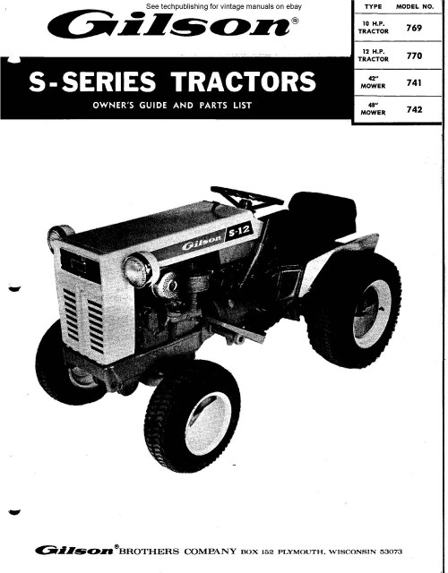 Gilson vintage tractor repair service manual 1960s - 70s