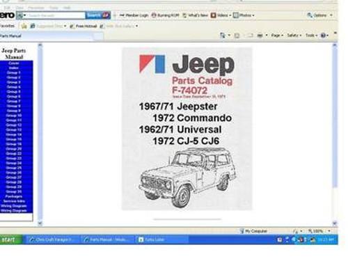 Jeep parts manuals CJ Jeepster Commando universal CJ5 CJ6 on CD
