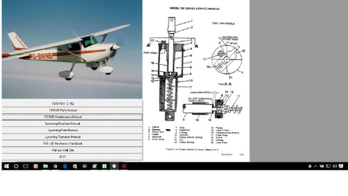 Cessna 152 aircraft repair service maintenance manual plus engine overhaul