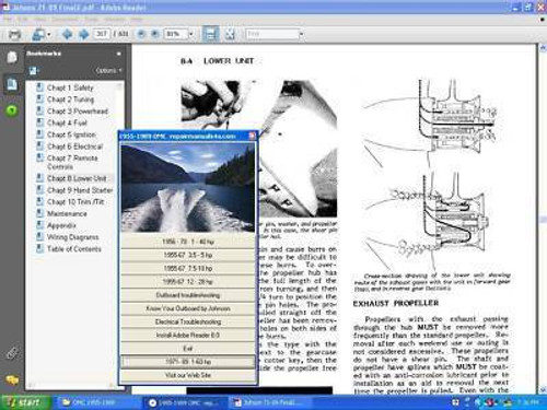 This manual on Autorun CD contains a Great  service & Repair Manual .  It covers 9-70HP  suzuki outboards from   1997-2000 models. 4 strokes only.  This large 500 page service manual is in PDF Format on a CD for easy reading and has a main menu for navigation   Service, maintenance, overhaul adjustments everything you need to know is covered. Photos, electrical, tune up, fuel system lower units., specifications, repairs, maintenance, overhaul, wiring diagrams  troubleshooting, controls, tilt and trim. and more in language us mortals can all understand   Fully bookmarked and hyperlinked with  a master index for easy use.  Print any or all pages   Free shipping