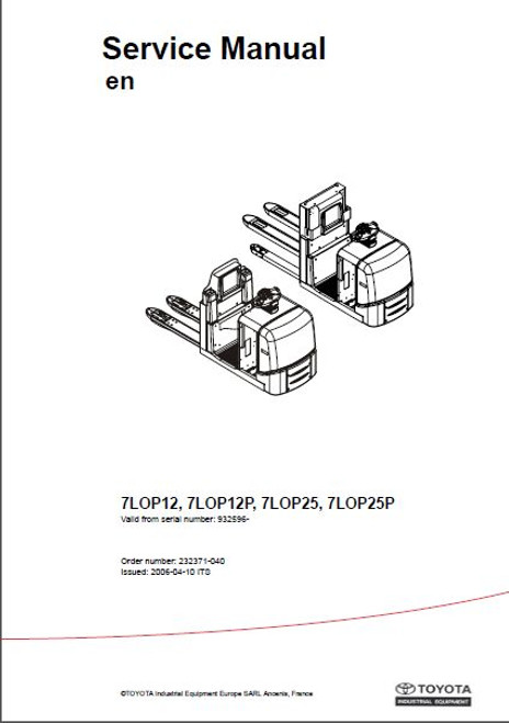 FORKLIFT TECHNICAL MANUALS - 143 PDFs - 37680 pages