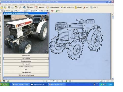 Bolens Iseki H152 H174 hydrostatic tractor repair supplemental manual on CD