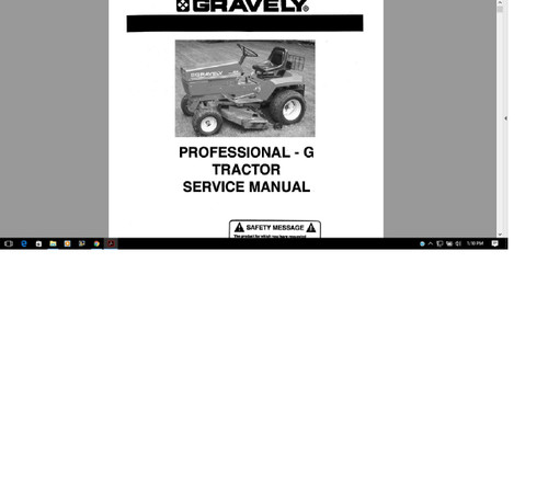 Gravely Pro G tractor manual for service parts operation