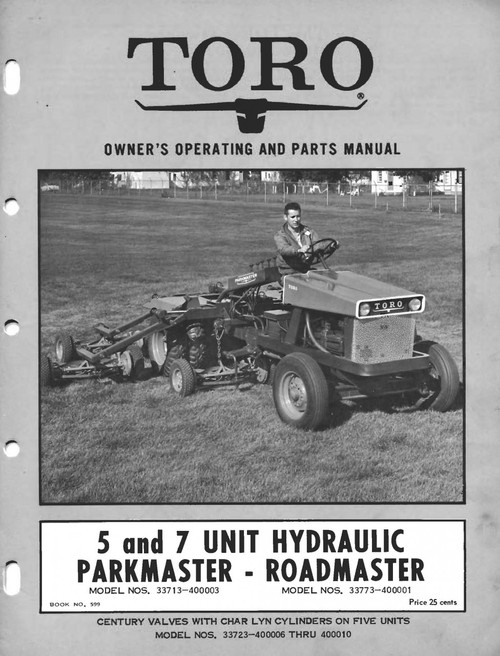 Toro 5 & 7 unit parkmaster roadmaster commercial professional mower download