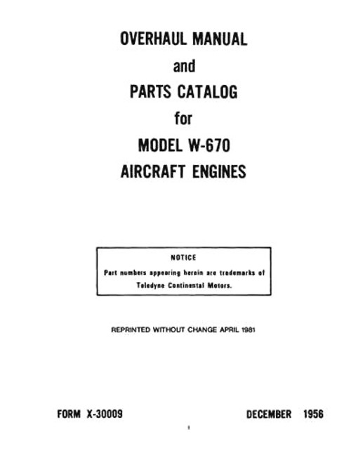 Continental aircraft engine W-670 overhaul and parts manual library