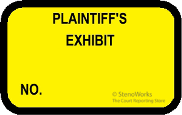 PLAINTIFF'S EXHIBIT NO Labels Stickers - Yellow - Choose Your Quantity