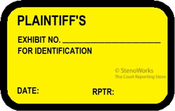 PLAINTIFF'S EXHIBIT NO. FOR ID