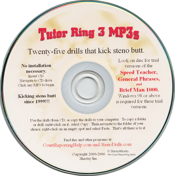 Tutor Ring 3 MP3s 25 drills that kick steno butt for stenograph