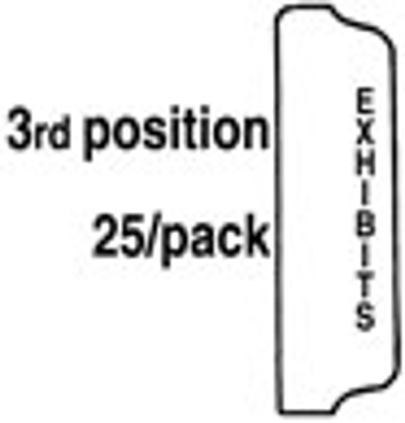 EXHIBITS Index Tab, 1/5th Size, Position 3, Punched 3 std (25 per pack)