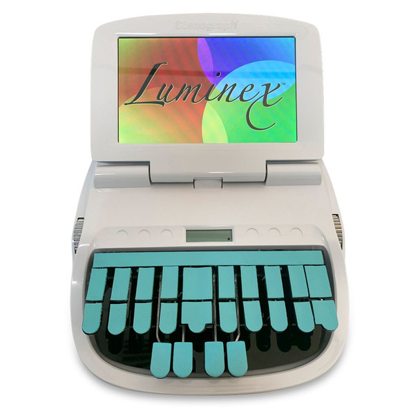 Luminex with Aqua skin and aqua leather keypads