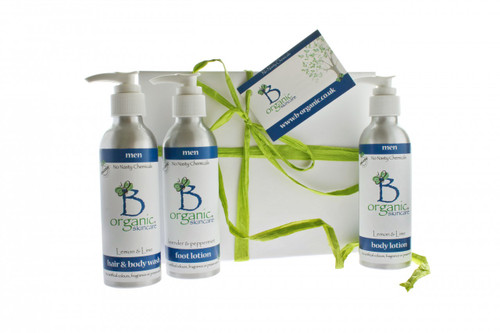 Organic Shampoo and Body Wash Body Lotion and Foot Lotion Gift Set for Men