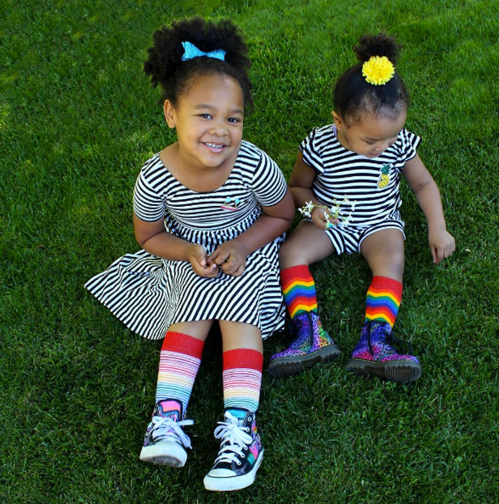 she loves me more when we wear our matching toddler rainbow socks