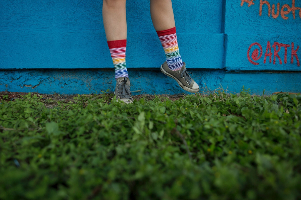 photography lessons in my rainbow knee high casual socks