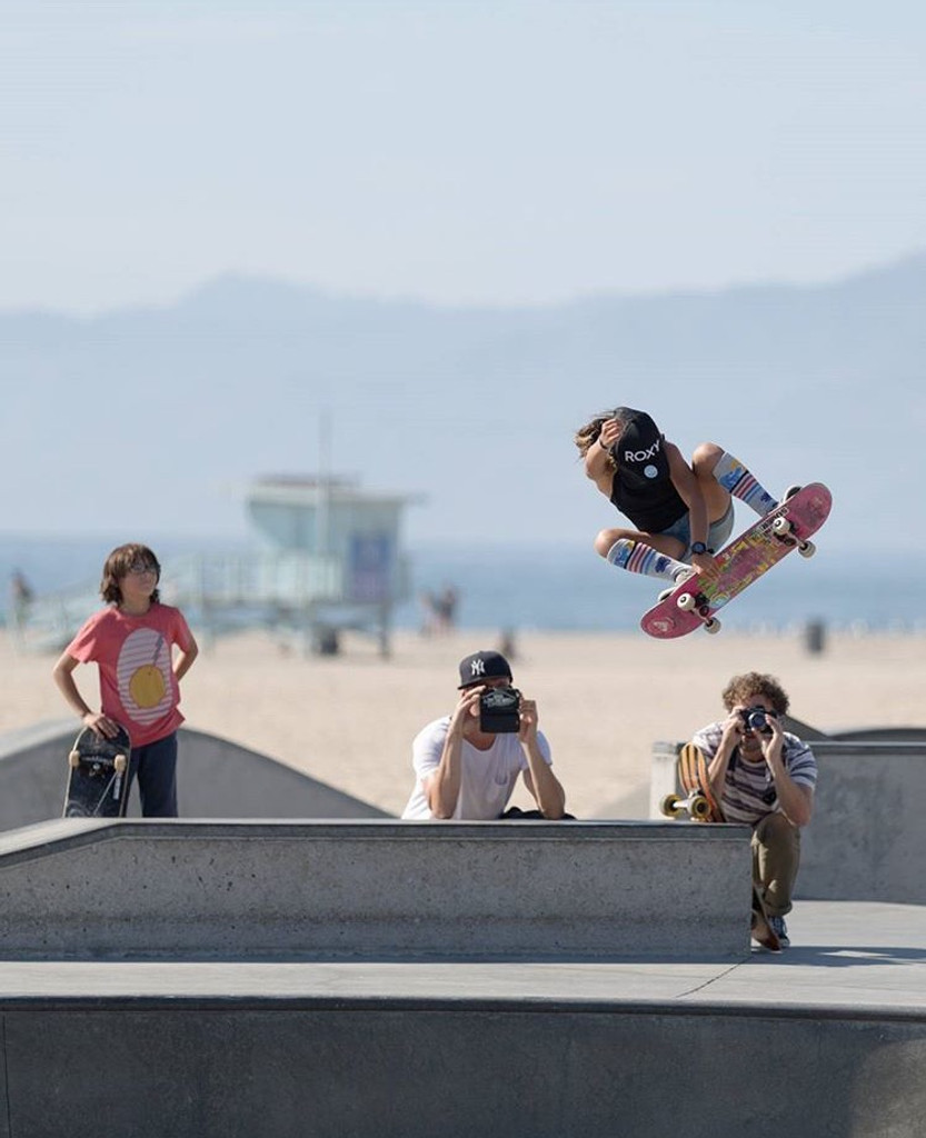 flying high in venice beach, california with sky brown rocking her skys the limit pride socks