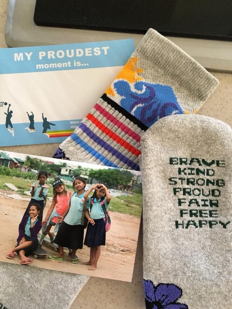 promotional material for the skys the limit sock with pride socks