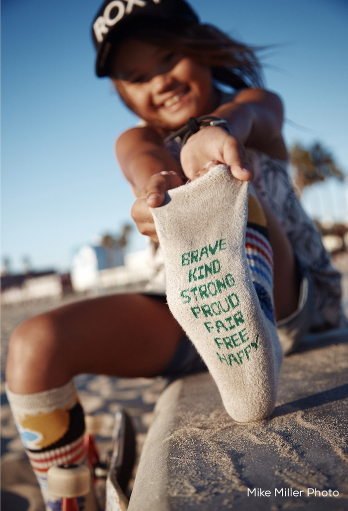 positive intentions with her pride socks