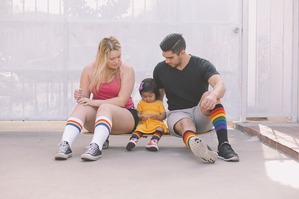 family matching skater pride socks