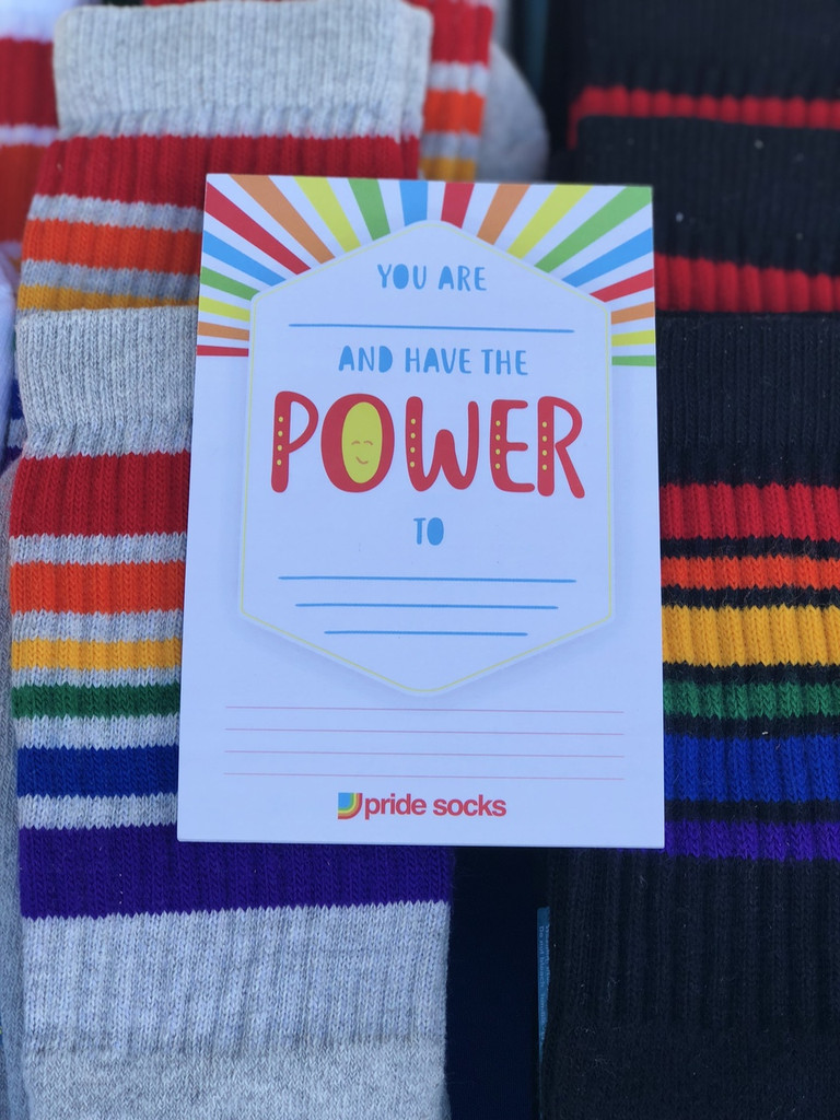i love power motivational notes from pride socks.  you can make a difference.