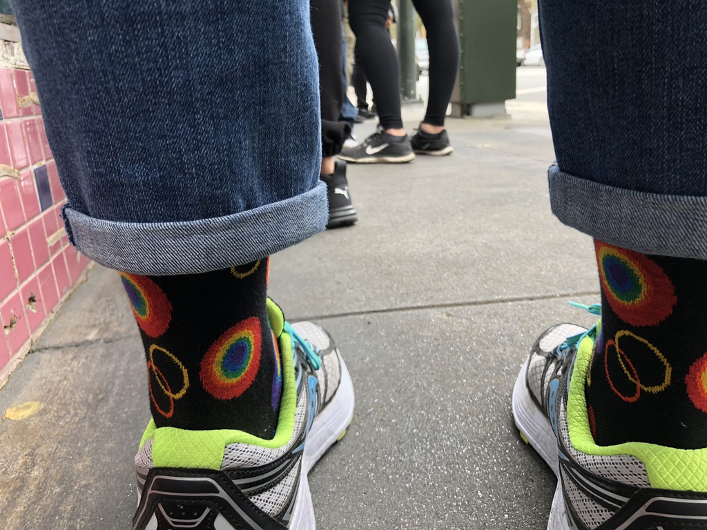 Watch the foot traffic when waiting in line at galaxy cafe with your supernova pride socks on.