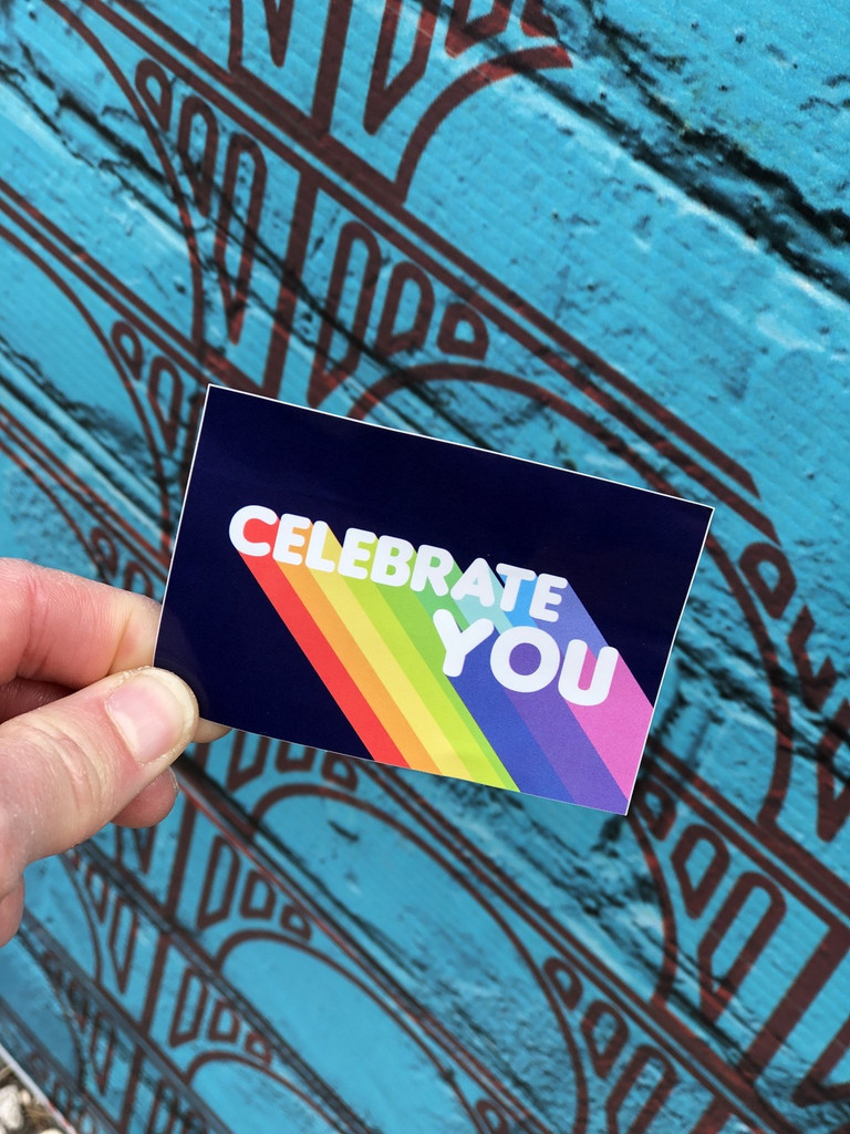 pride socks celebrate you sticker can be put anywhere to remind you to always celebrate you.