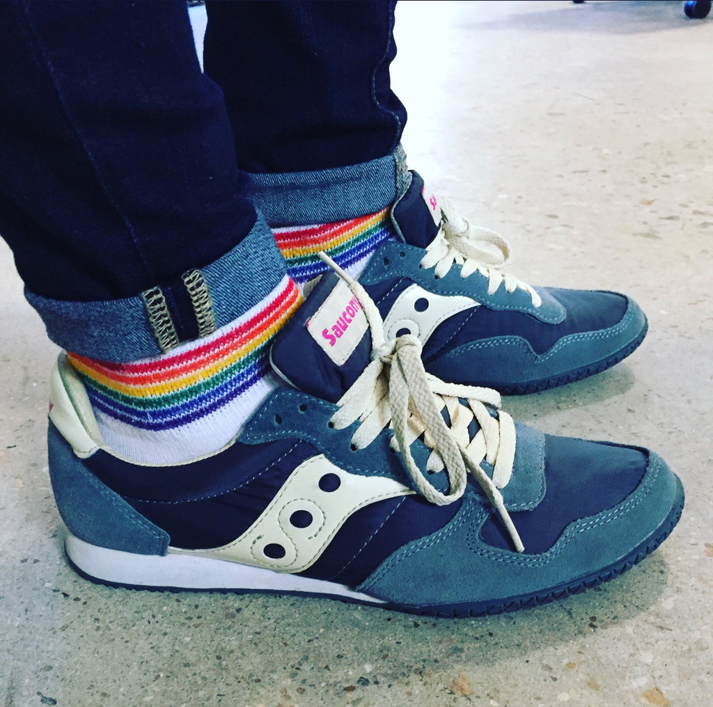 pride socks are perfect for fashion as well.  let the rainbow get a peek as you venture about your day finding more reasons to be proud of who you are.