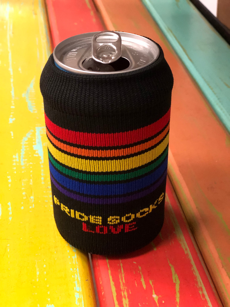 use your pride socks rainbow koozie on a short can
