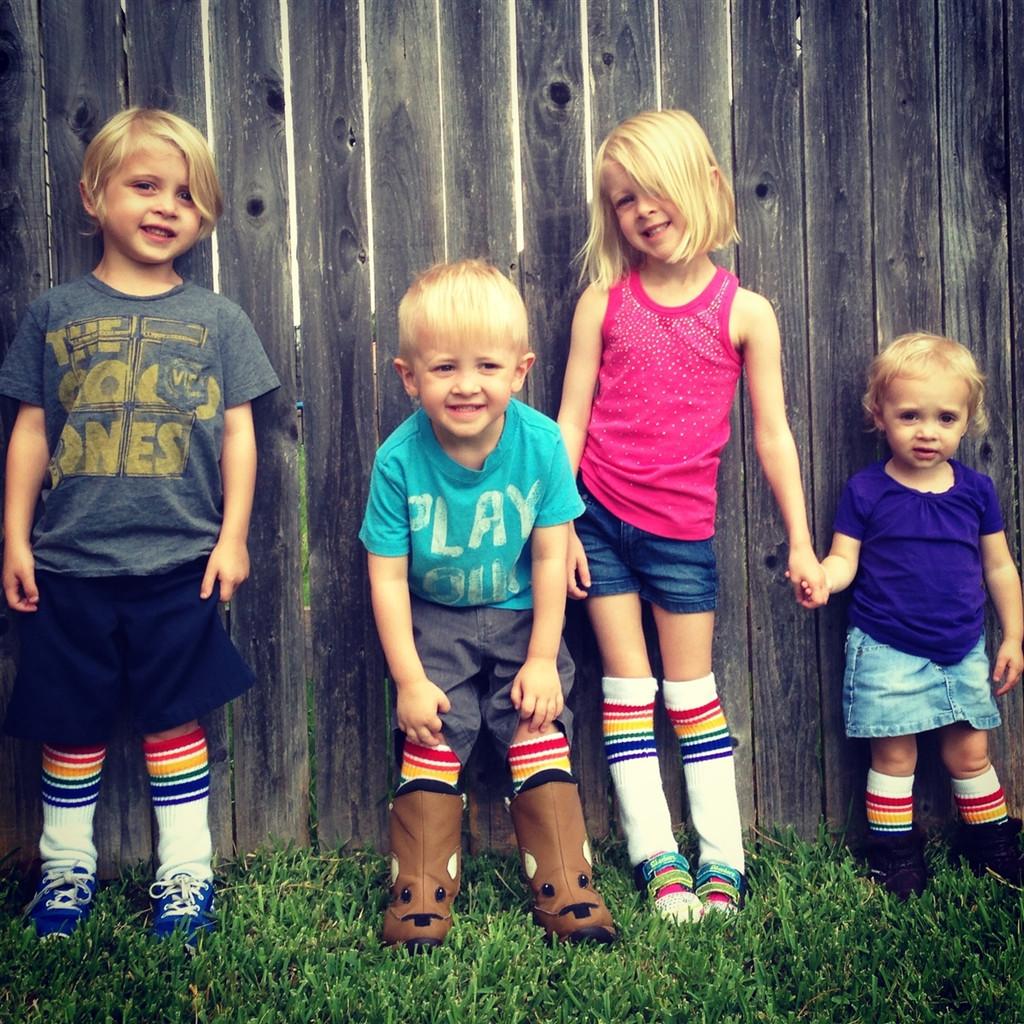 all my siblings love when we wear rainbow tube socks