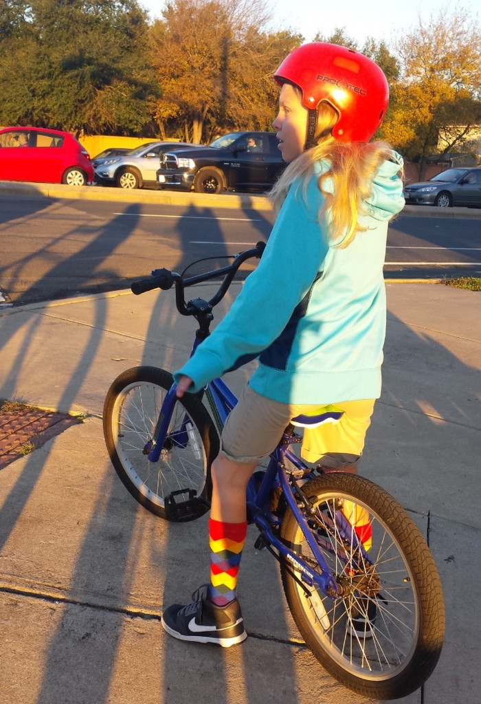 going cycling in my perfect rainbow argyle pride socks